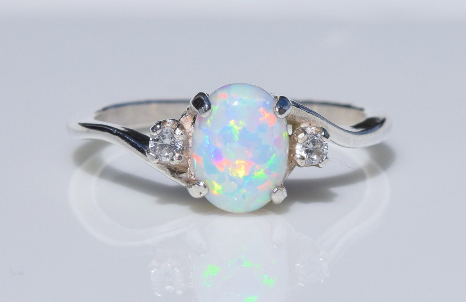silver opal ring white opal ring pink opal ring blue opal