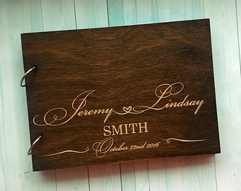 Personalised Wedding Guest Book Alternative Guest Book Wood Guestbook Names Wooden Guestbook Custom Engraved Guest Book