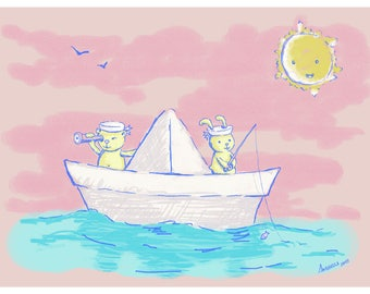 Blade children. Paper boat. Sailors. A4. Digital illustration. Fun gift. Kids decoration