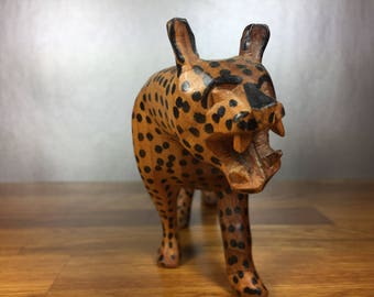 Carved Cheetah Wood Figure