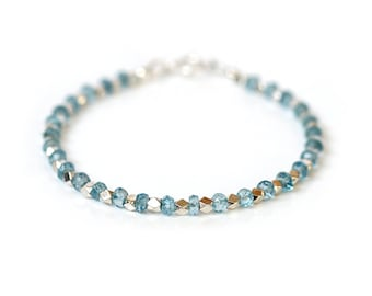 Pale Blue Topaz Bracelet, Beaded Sky Blue Topaz Bangle, 925 Sterling Silver, Romantic Bridal Jewelry, December Birthstone Gift for Her