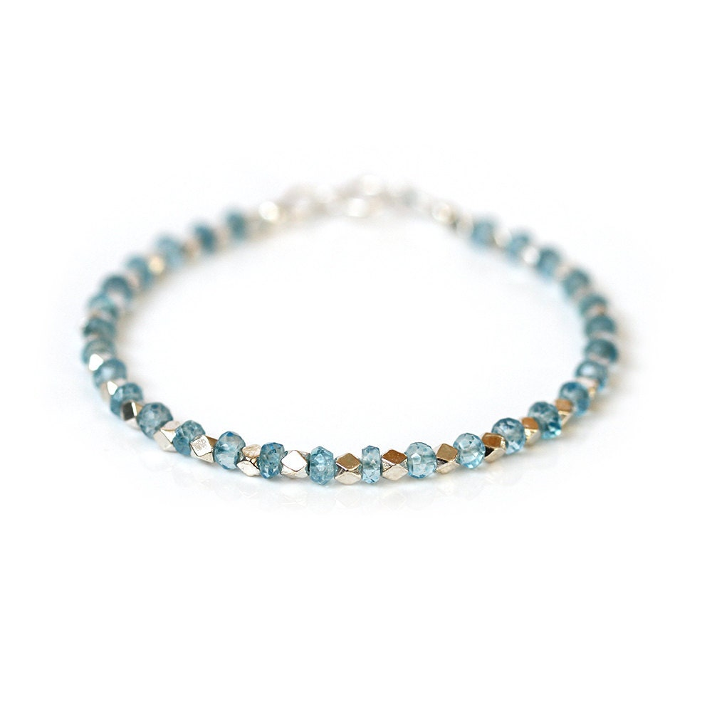 Pale Blue Topaz Bracelet Beaded Sky Blue Topaz Bangle 925