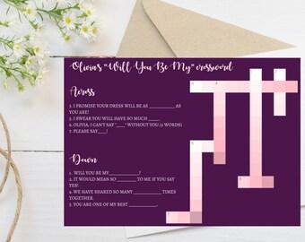 Bridesmaid Crossword Puzzle Proposal, Unique Bridesmaid Proposal, Will You Be My Bridesmaid, Maid of Honor, Flower Girl
