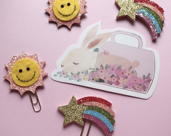 sun & rainbow paperclips / planner clips