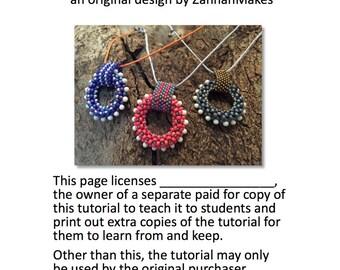 Teaching License for the Bobble Pendant Beading Tutorial Pattern Instructions Beaded Pendant