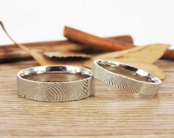 Custom Fingerprint Rings, Couple Matching Ring, Promise Rings, Simple Silver Wedding Titanium Rings Set