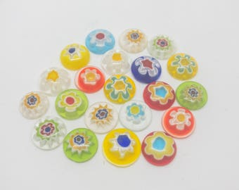 Murano Style Millefiori Glass 10mm Cabochons. Pack Of 20.