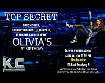Personalized K.C. Undercover Spy Birthday Invitation [JPEG]