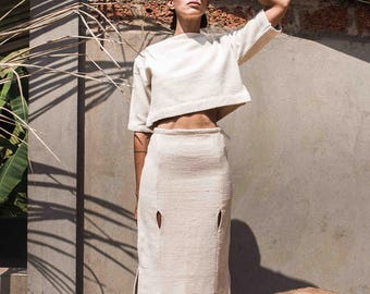 FLASH SALE 30% off! eyelet midi fitted skirt handwoven textured cotton