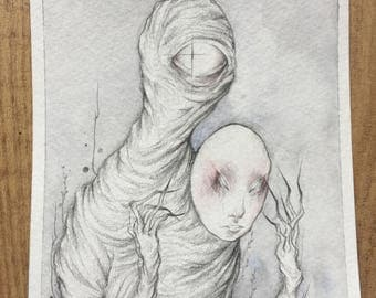 Eye man holding a mask - Pencil and watercolour illustration