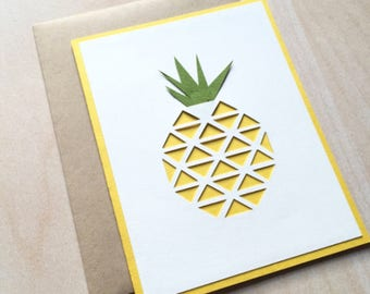 Hand-cut pineapple card/summer/island fruit/blank card/all occasion card