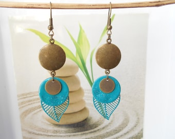 bronze leaf earrings turquoise