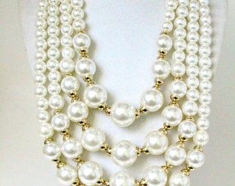 Pearl Necklace, Multistrand Necklace, Layered Necklace, Beaded Necklace, Pearl Statement Necklace, Bib Necklace, Ivory Pearl, Big Necklace