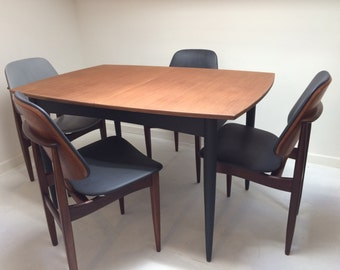 SOLD Dining table and chairs mid century