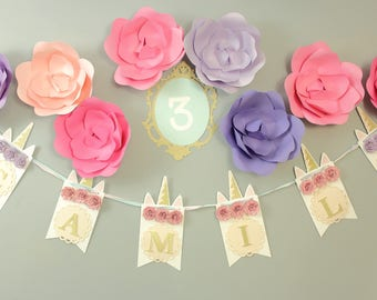 Unicorn Floral Banner with Giant Flowers and Milestone Frame for Unicorn Parties, Weddings, and Birthday Parties