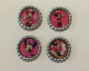 4 pcs Disney Minnie Mouse Flat Bottle Caps for Hair Bow Center & Scrapbook , Minnie Mouse Finished Bottle Caps for Hair Bow Center