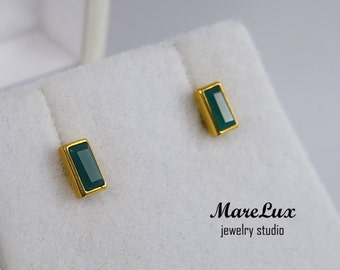 Baguette Natural Green Agate Stud 24K Gold Filled Silver or Gold Earrings, Rectangle Green Earrings, Natural Green Agate, Stud Earrings