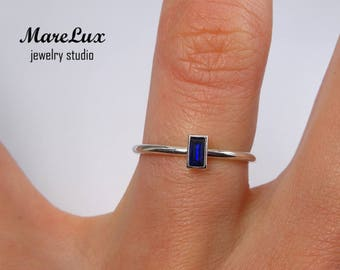 Spinel Baguette Cut Silver Ring, Synthetic Deep Blue Spinel Ring, Stackable Sterling Silver Ring 925 Silver Tiny Ring Delicate Stacking Ring