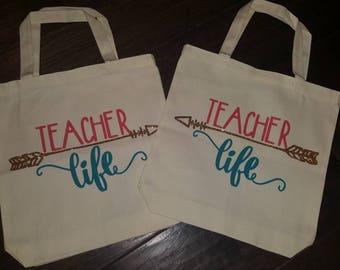 Teacher life tote bags