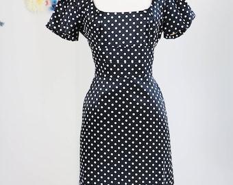 90s Does 1950s Dress - Polka Dot Midi Dress - Black White Polkadot - Short Sleeve Wiggle Dress - Vintage Pin Up - Size Small Medium