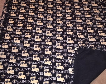 NFL New Orleans Saints Hand Tied Fleece Blanket