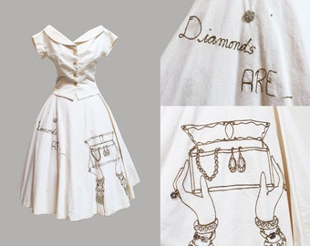 1950s Novelty Embroidered Diamonds Are a Girls Best Friend Skirt and Top Set Marilyn Monroe