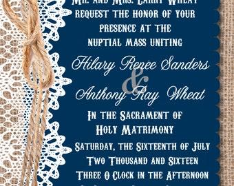Rustic Wedding Invitation & RSVP Postcard