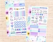 Watercolor Flower PERSONAL Set (matte planner sticker, Filofax, Kikki K, Websters Pages, Color Crush)
