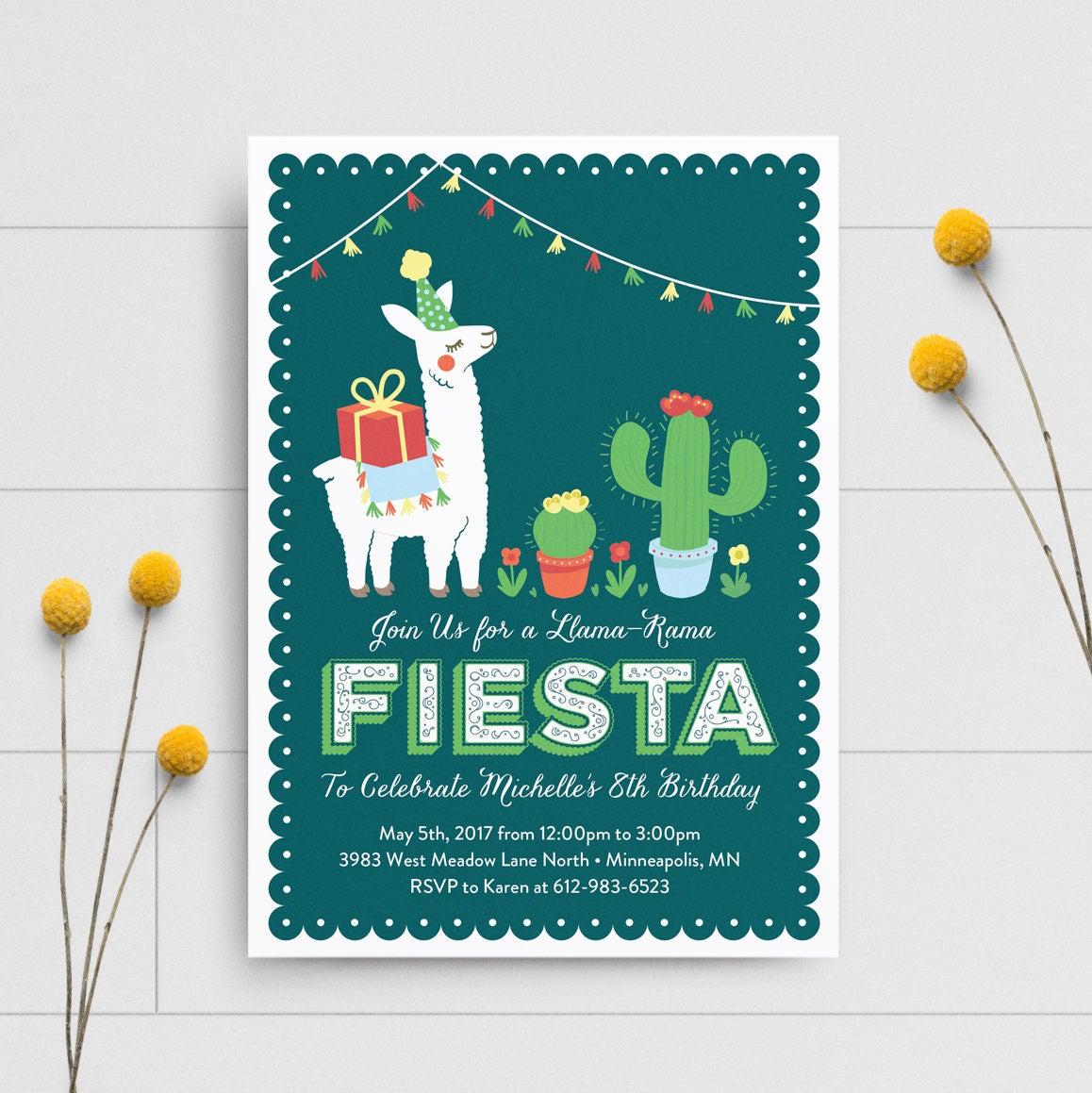 Llama Birthday Invitation, Fiesta Invitation, Boy Party Invitation ...