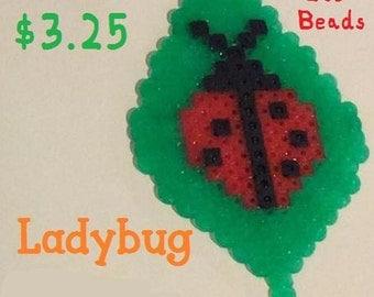 Ladybug On Leaf Perler Bead