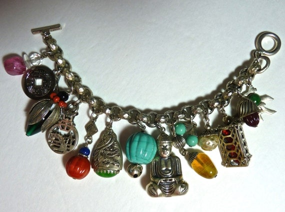 STERLING SILVER CHARM Bracelet ~ Loaded With 14 Charms ~ Sterling Silver Buddha ~ Glass and Semi Precious Stones ~ Asian Charms  ~ Vintage