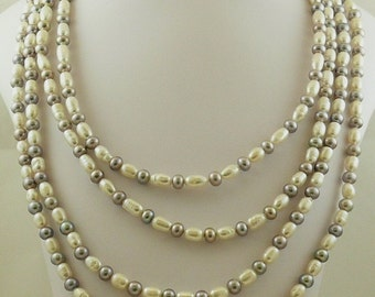 """Freshwater Gray and White Pearl Necklace with Sterling Silver Fish Lock 100"""""""