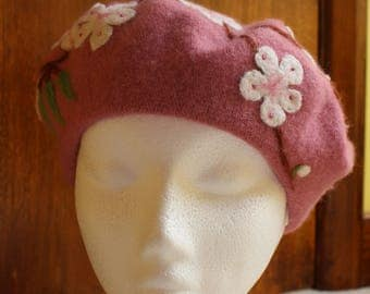 Rose Pink Beret With Branches Of Cherry Blossom In White