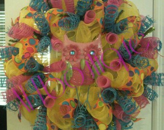 Spring Wreath with Pink Owl; Yellow, Orange, Pink and Blue Wreath; Spring Wreath