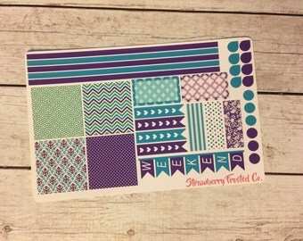 Blue and Purple Themed Planner Stickers- Made to fit Horizontal Layout