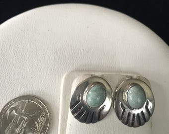 """Vintage Sterling Silver Indian Sign """"SE"""" Turquoise Earrings - AB"""