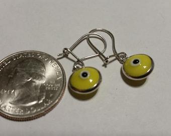 Vintage sterling silver evil eye earrings badr