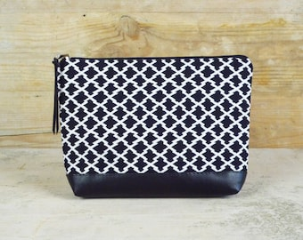 Make-up bag black and white patterned SONJA