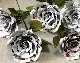 5 Playing Card Flowers, Paper Flower, Casino Theme, Optional Extras, Uniue Gift, James Bond Style, Christmas Gifts, Magician, Vegas Style