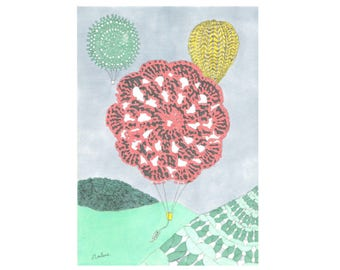 Knitted Balloons Limited Edition Digital Print A4