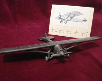 """PEWTER Spirit of St Louis REPLICA AIRPLANE 4"""" Vintage 1986 Avon Aviation Collection Toy Model Charles Lindbergh New York Historic Flight 930"""