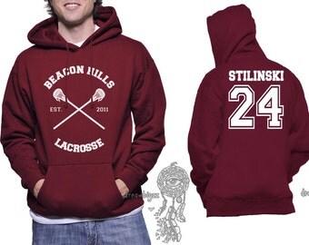 Beacon Hills Lacrosse CR Stilinski 24 Stiles Stilinski printed on Unisex Hoodie MAROON