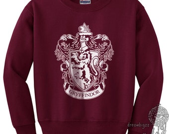 Gryffin #1 Crest White print printed on Maroon crew neck sweatshirt