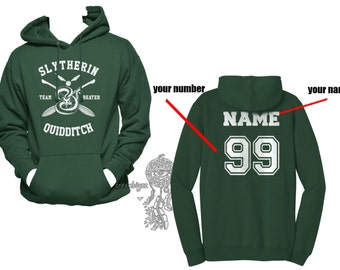 BEATER - Custom back, Slyth Quidditch team Beater White print printed on Forest green Hoodie