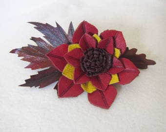 Flower Hairclip-automatic leather, Red Flower hair clip, leather flower hairclip, flower hair clip, Flower Leather Hairclip-automatic