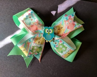 Owl stacked hairbow