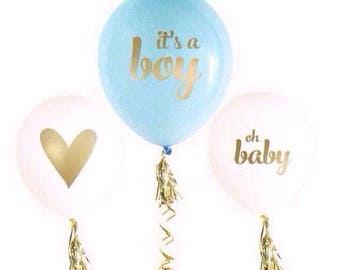 IT'S A BOY balloons-set of 3-It's a Boy balloons, blue and white boy baby shower balloons