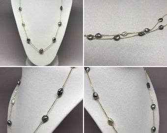 Cultured Tahitian Pearl Keshi Tin Cup Necklace, 14k Gold (KTC1)