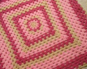 36x38 raspberry granny square baby blanket