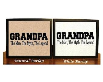 Funny grandpa sign etsy grandpa the man the myth the legend burlap print grandpa print sciox Gallery